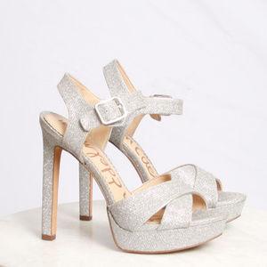 Sam Edelman Jordan Silver Glitter Platform Heels